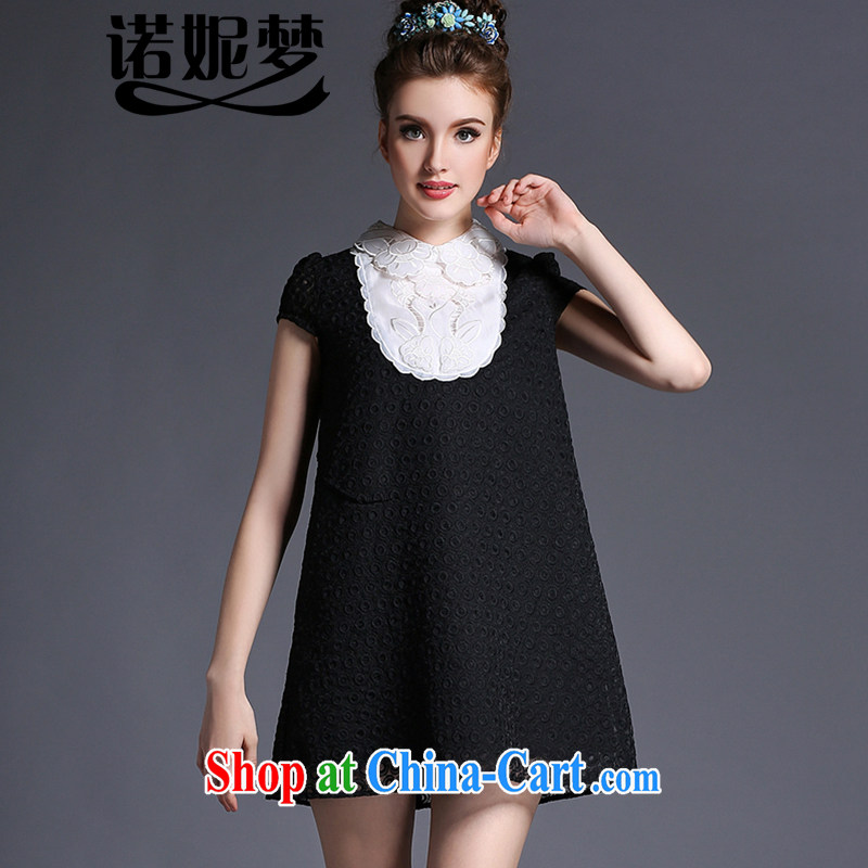 Connie's dream high-end in Europe and indeed the XL female 200 Jack thick sister summer 2015 new graphics thin embroidered lapel coin flower dresses G 695 black XXL