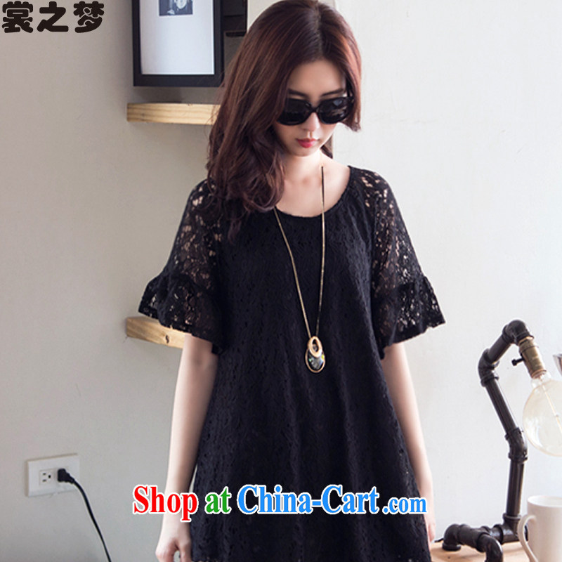 Advisory Committee's dream summer 2015 New, and indeed increase, female length in sleeveless shirts T mm thick graphics thin lace shirt 8535 black XXXXL