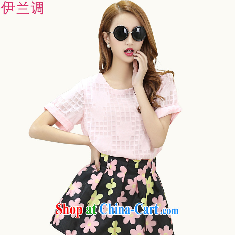 2015 new summer Korea and indeed increase, female T-shirts Womens thick MM short-sleeve thick sister 200 Jack 5637 pink XXXL
