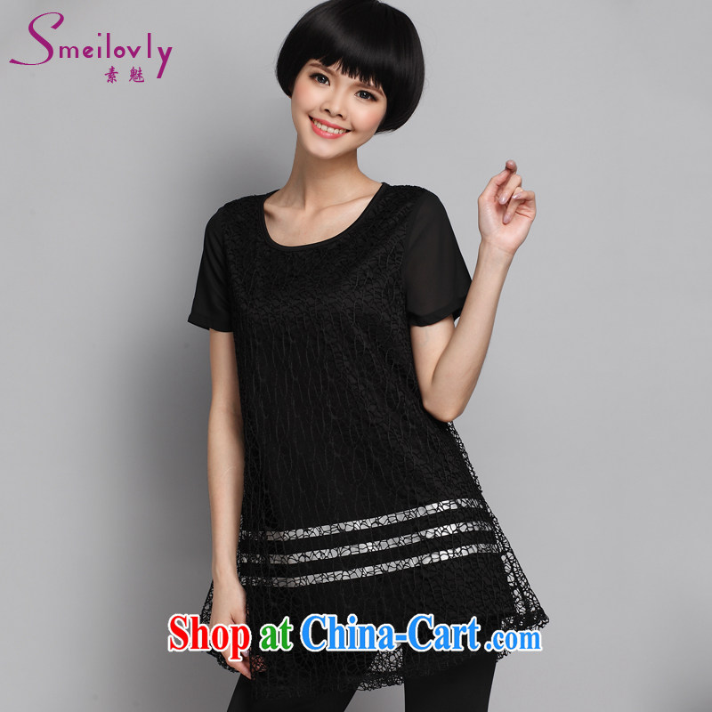 Director of 2015 summer new XL female Korean style Openwork stitching thick MM short sleeved T-shirt 1359 fall in love with the template black large code 5 200 XL about Jack