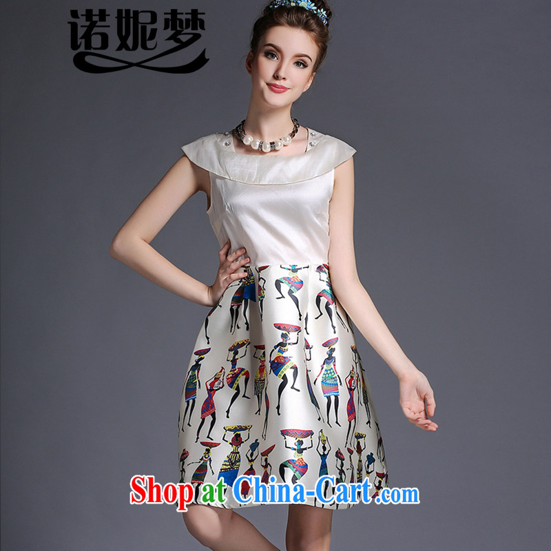 The Connie was a high-end European and American fare is indeed increasing, female 200 Jack thick sister summer new elegant name yuan style staples for Pearl River Delta stamp series spelling skirts G 696 apricot XXXXL