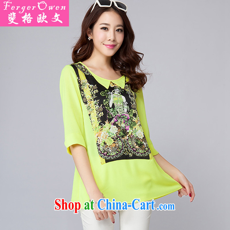 caused the Owen new summer, and indeed increase, summer fashion stamp duty thick people graphics thin, large, female 7 snow cuff woven shirts ladies T-shirt wearing green 4 XL