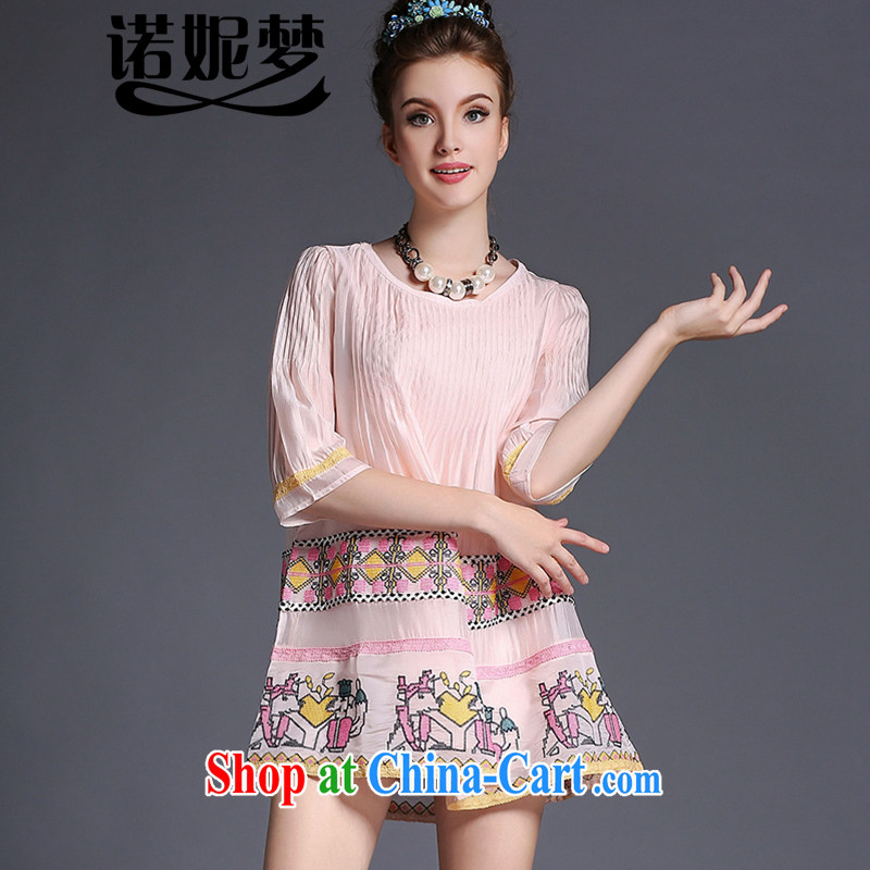The Connie was a high-end European and American and indeed XL female 200 Jack mm thick summer 2015 new cartoon liberal 100 hem skirt embroidered dresses G 693 pink XXXL