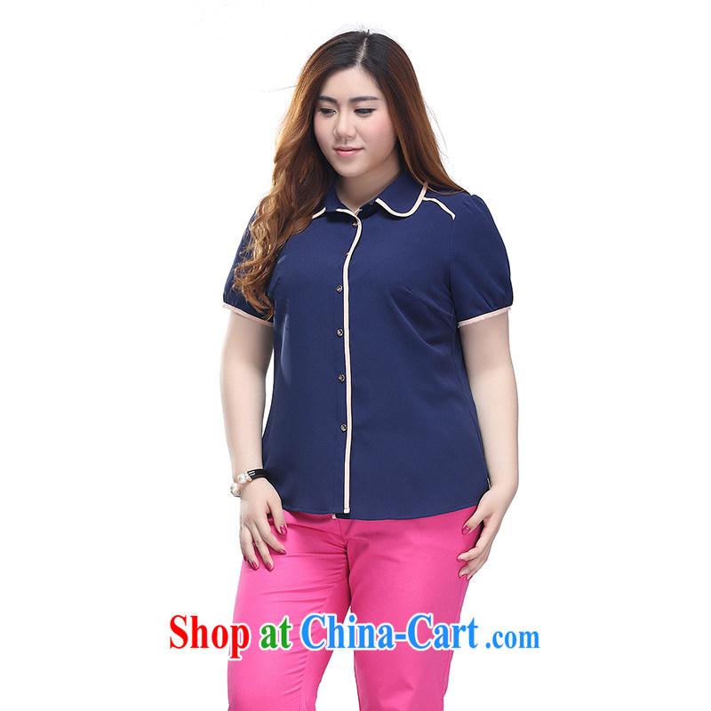 Slim LI Sau 2015 summer new, larger female Korean minimalist knocked pack edge short sleeved T-shirt nice shirt Q 7713 royal blue 4 XL