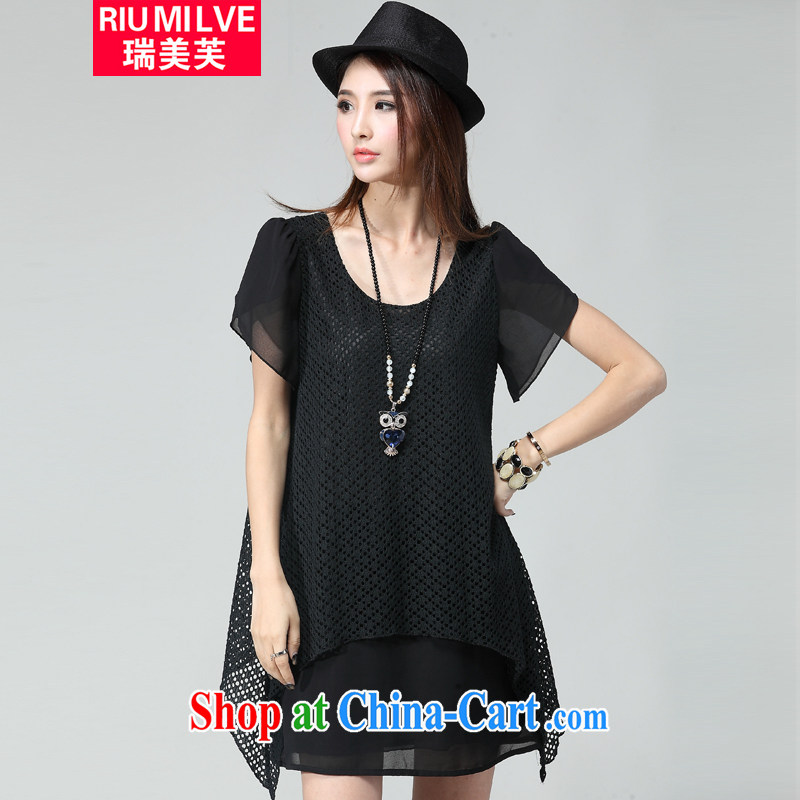 Ryan and the United States concluded the Code women mm thick beauty graphics thin 2015 summer new and indeed intensify Openwork grid snow woven short-sleeved dresses W 2036 black XXXL