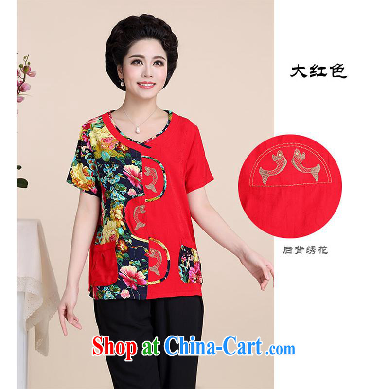 100 brigade Bailv summer new, mom with short-sleeved T-shirt and garment BS - 2 Q 4-color red XXL