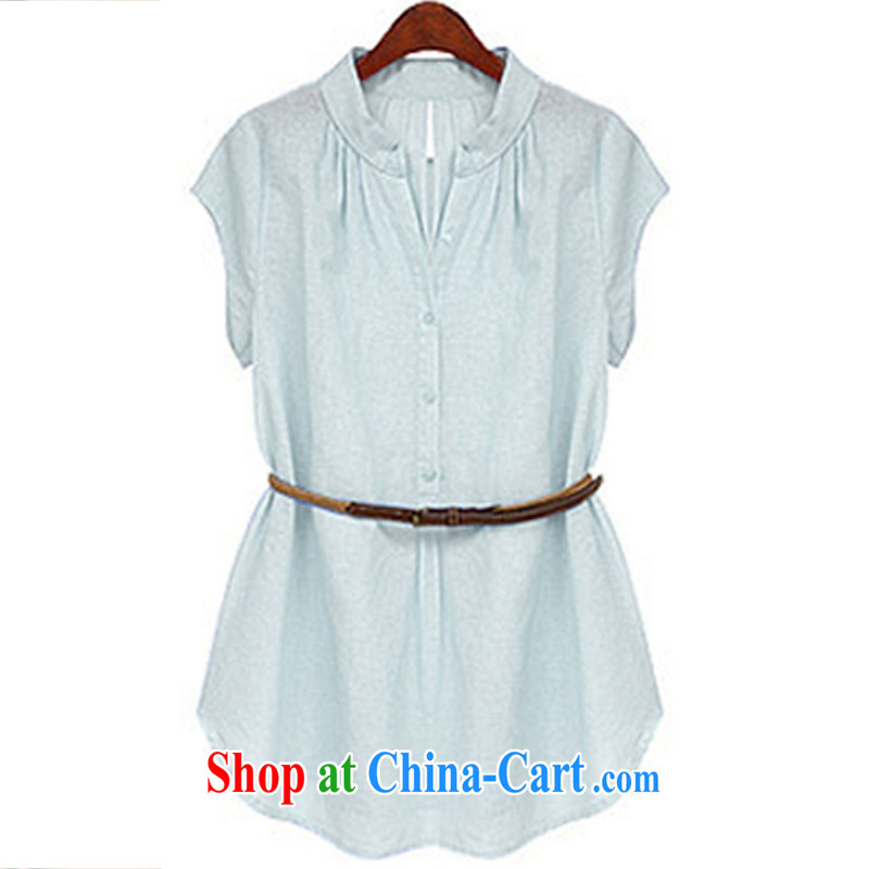 Indeed Borneo summer fat sister and indeed increase the cotton shirt summer MOM T-shirt with the Code women mm thick summer light blue XXXL