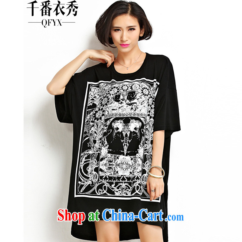 1000 double Yi Su-ha, Korean women loose the code 200 Jack thick MM female long stamp short-sleeved shirt T ZM 7182 black large code are code
