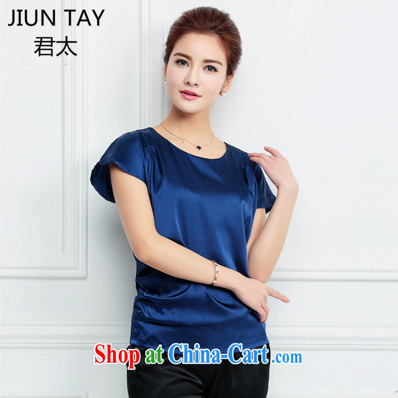 Grand Pacific 2015 summer New Silk large code female snow woven shirts high-end elegant and relaxed relaxed sauna silk shirt women T-shirt T shirt blue XXXL