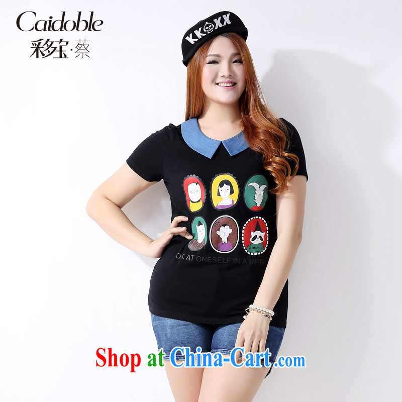 The more major, women 2015 spring and summer finery and thick MM the aging 100 ground graphics thin over short-sleeved shirt T female A 3761 black 3 XL