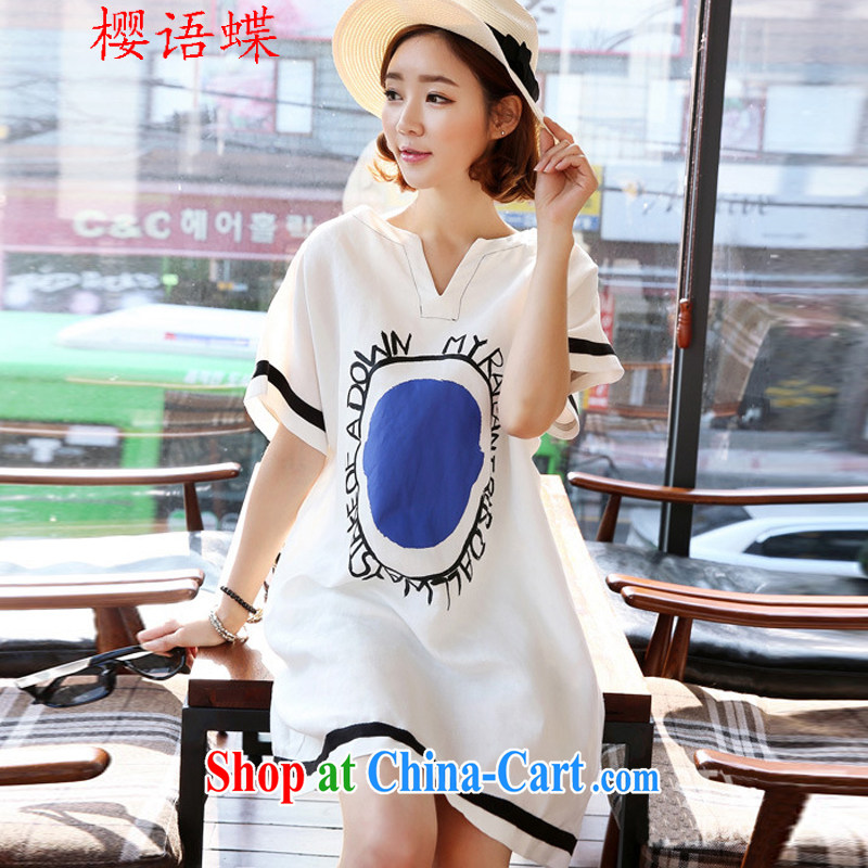 Cherry, butterfly 2015 summer new female Korean V collar short-sleeved loose stamp dresses quality linen stamp loose dresses white M