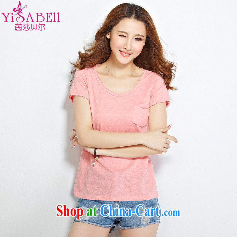 Athena Isabel Allende fat people graphics thin summer 2015 new Korean T shirts and indeed increase, female 100 V ground short-sleeved casual cotton shirt 1200 pink 4 XL recommendations 145 - 160 jack