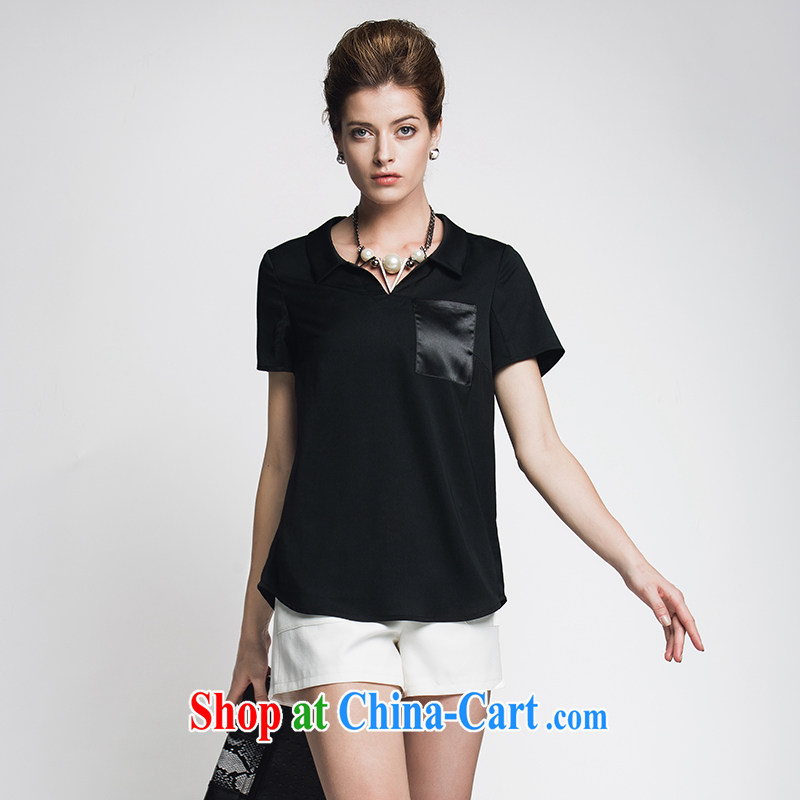 Former Yugoslavia, Mr Big, female 2015 summer new thick mm pocket tile 100 ground short-sleeved shirt female 952013245 black 6 XL