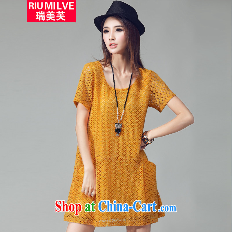 Ryan and the United States concluded the Code women mm thick beauty graphics thin 2015 summer new, loose the fat increase Openwork grid short-sleeved dresses W 2035 yellow XXXXL