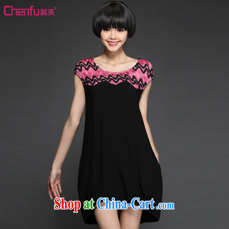 Morning would be 2015 summer new Korean version and indeed increase, female fashion style round-collar short-sleeve dress mm thick rammed-color stitching lace hook flower dress black 5 XL _180 - 200 _ jack
