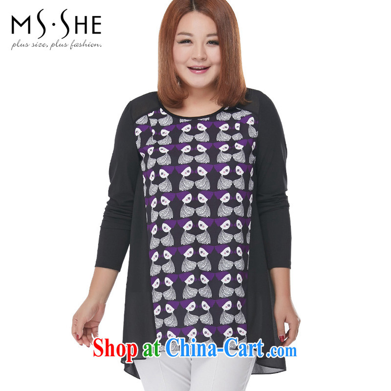 MSSHE XL female new Snow woven round-collar long-sleeved T-shirt clearance 2563 black 5 stamp duty XL