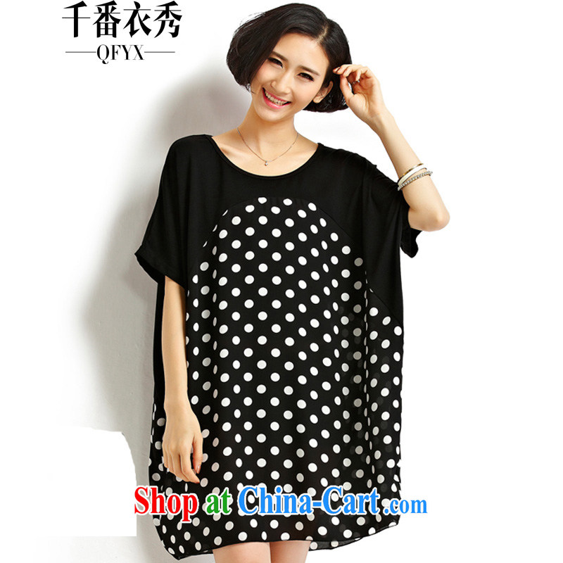 1000 double Yi Su-summer Korean loose waves, 200 Jack thick MM larger female short-sleeve shirt T ZM 7172 black large code are code