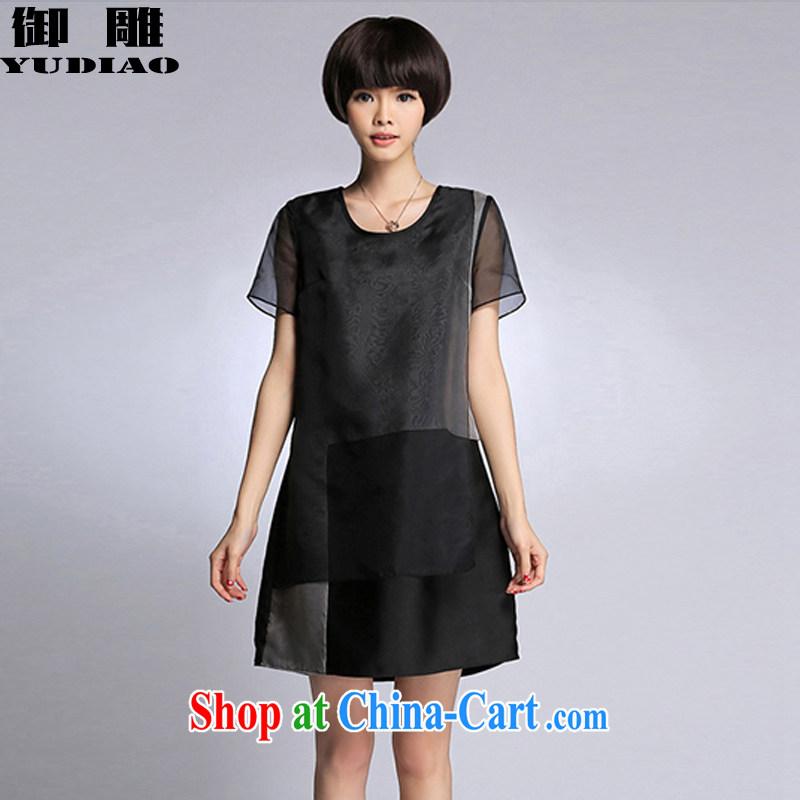 royal eagle 2015 summer new larger female European fashion European root yarn silk loose thick MM dresses Z 424 black XXXXL