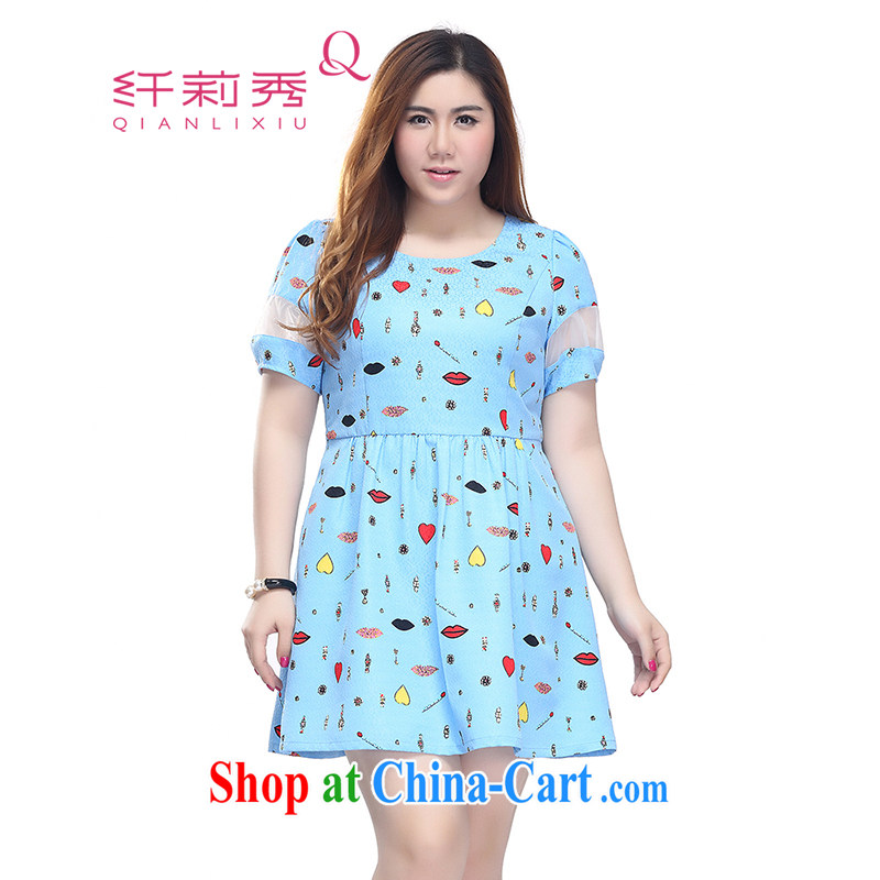 Slim LI Sau 2015 summer new, larger female stamp the root yarn stitching short-sleeved video thin dresses Q 7526 blue 4 XL