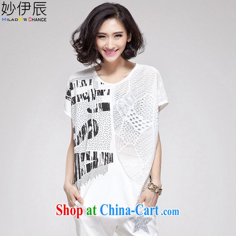 Alice Ho Miu Ling Nethersole, e summer 2015 new female Korean version the code loose, long, short-sleeved T-shirt girl M 5028 white L