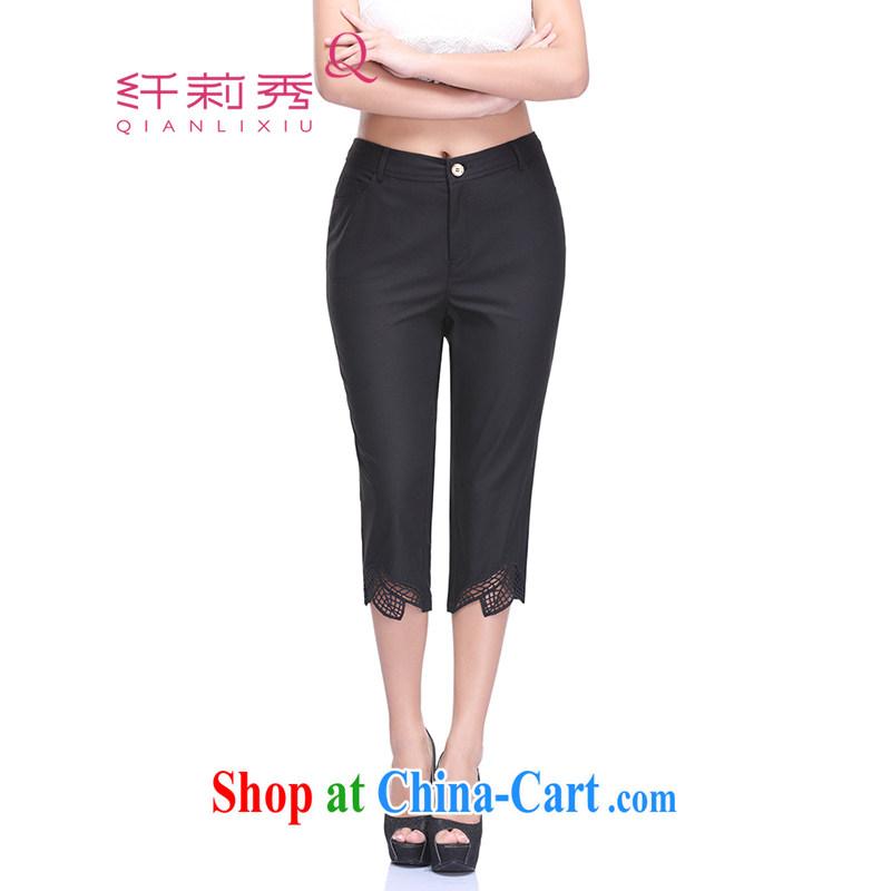 Slim LI Sau 2015 summer new, larger female Openwork leaf embroidered graphics thin 100 ground spring castor 7 pants Q 7513 black 36