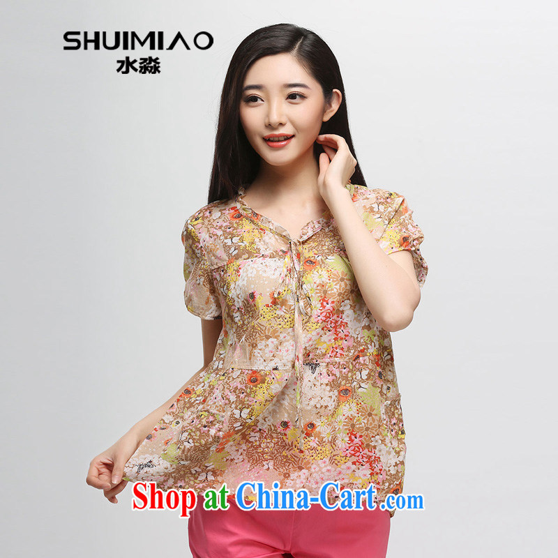 Water of Korean women with 2015 summer new mm thick cotton loose floral short-sleeved T-shirt girl C 1014 orange flower XXL