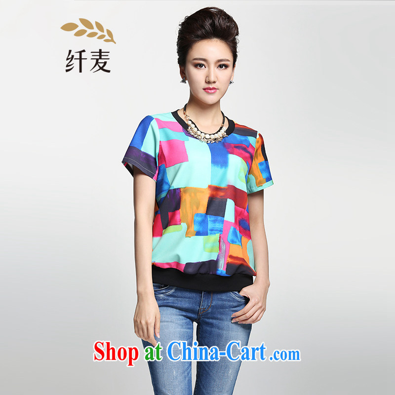 Former Yugoslavia, Mr Big, female 2015 summer new thick mm stylish Color color block stitching T pension 952362366 floral XL