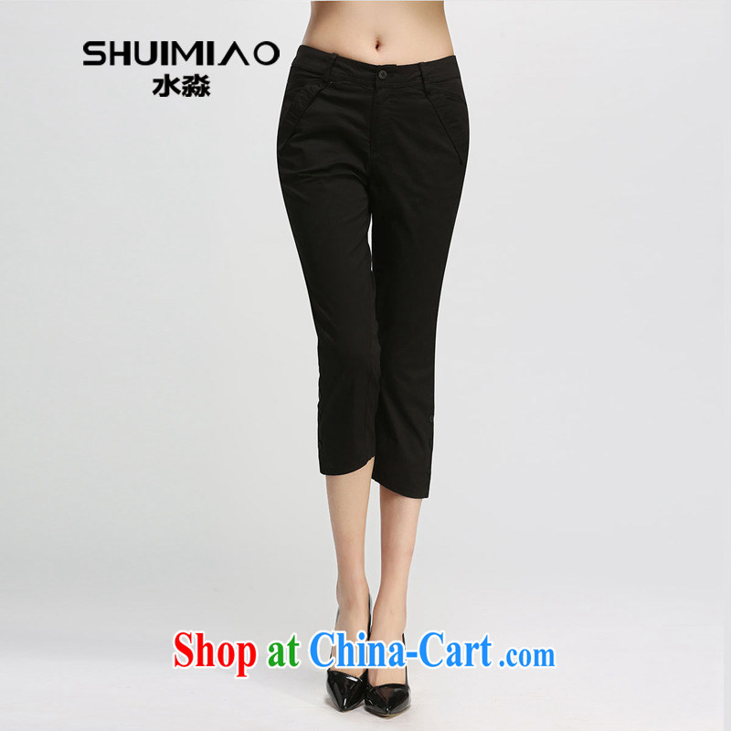 Water by 2015 summer Korean female new thick mm video thin high-waist 7 pants girls pants XL 2974 black 3 XL