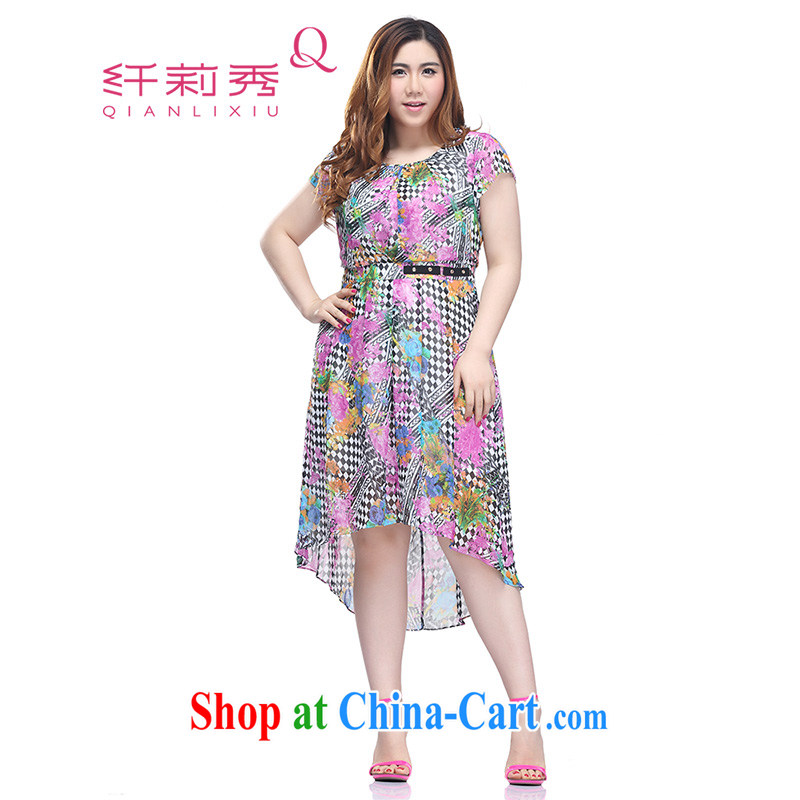Slim LI Sau 2015 summer new, larger female noble graphics slim, black and white, stamp snow woven dresses Q 8500 purple floral 3 XL