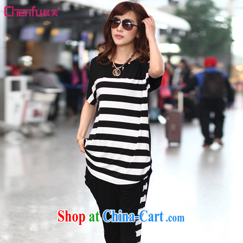 Morning would be 2015 summer new Korea and indeed XL women mm thick stylish terrace shoulder stripes and Leisure package female T shirt + Harlan pants black streaks 5 XL _180 - 200 _ jack