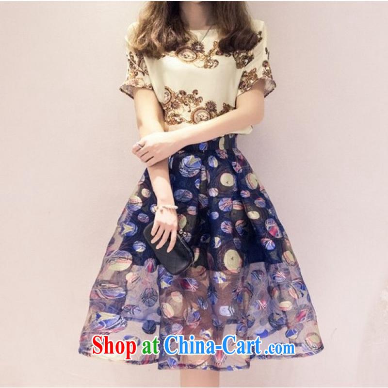 Kai Li Ting 2015 European root yarn embroidery two-part kit summer female stamp shaggy skirts dress light gray S