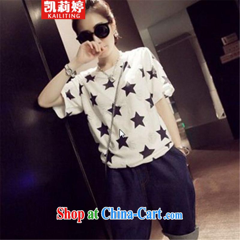 Kai Li Ting 2015 Plus is indeed increasing, female Korean video thin thick sister summer double linen T shirt large white code XXXL