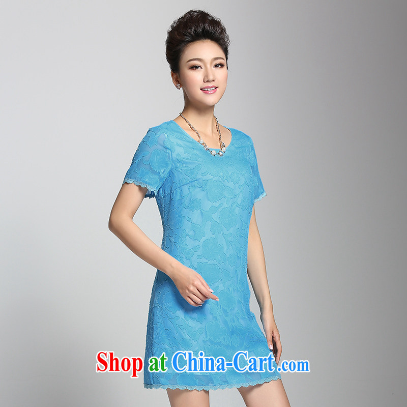 Pre-sale the Mecca, the female 2015 summer new thick mm tread in cultivating long dress 952103098 blue 6 XL
