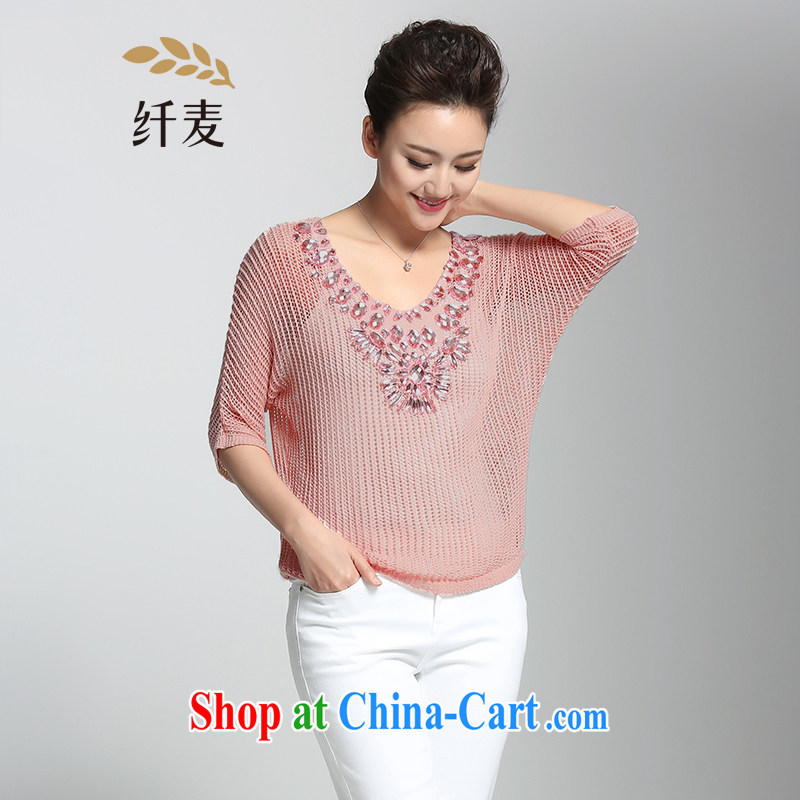 Pre-sale slim Mak larger female 2015 summer new thick mm stylish Pearl-bat sleeves T knitted shirts female 952363291 pink 3XL