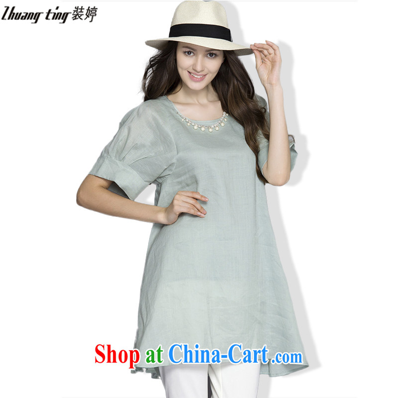 Replace-ting zhuangting 2015 summer new products in Europe and America, the female graphics thin stylish stamp short-sleeved A Field dresses 1096 green 4 XL