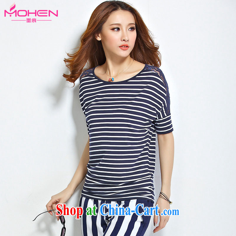 The ink marks summer 2015 new Korean version 100 ground graphics thin round-collar short-sleeve lace stitching streaks T shirts and indeed increase, female 200 Jack mm thick blue-and-white stripes 5 XL _160 - 170 _ jack