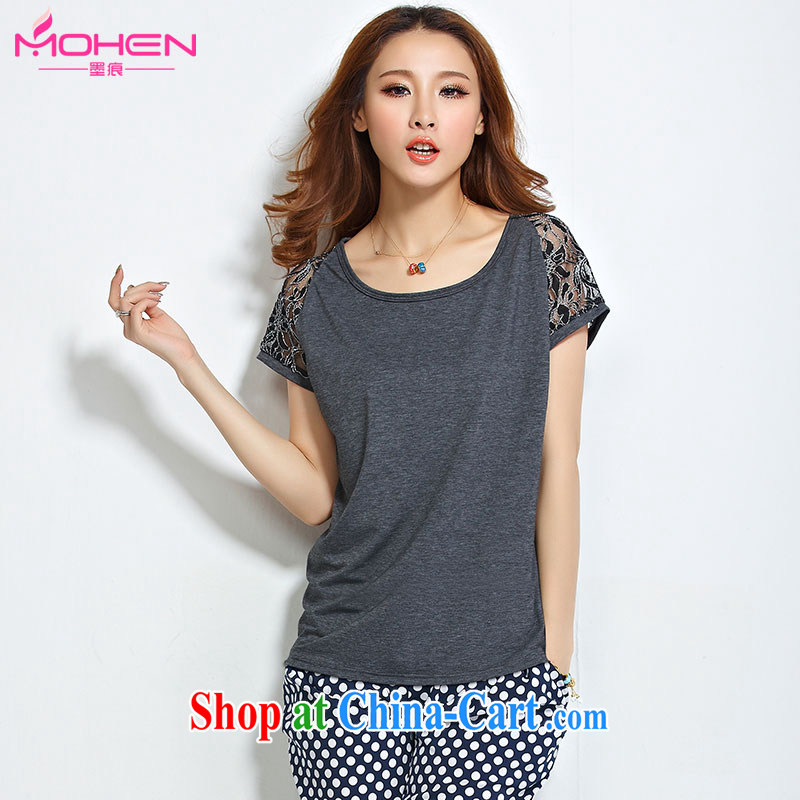 Ink marks 2015 summer new Korean version 100 cultivating ground graphics thin round-collar bat sleeves lace stitching T shirt T-shirt and indeed XL women mm thick gray 4 XL _145 - 155 _ jack