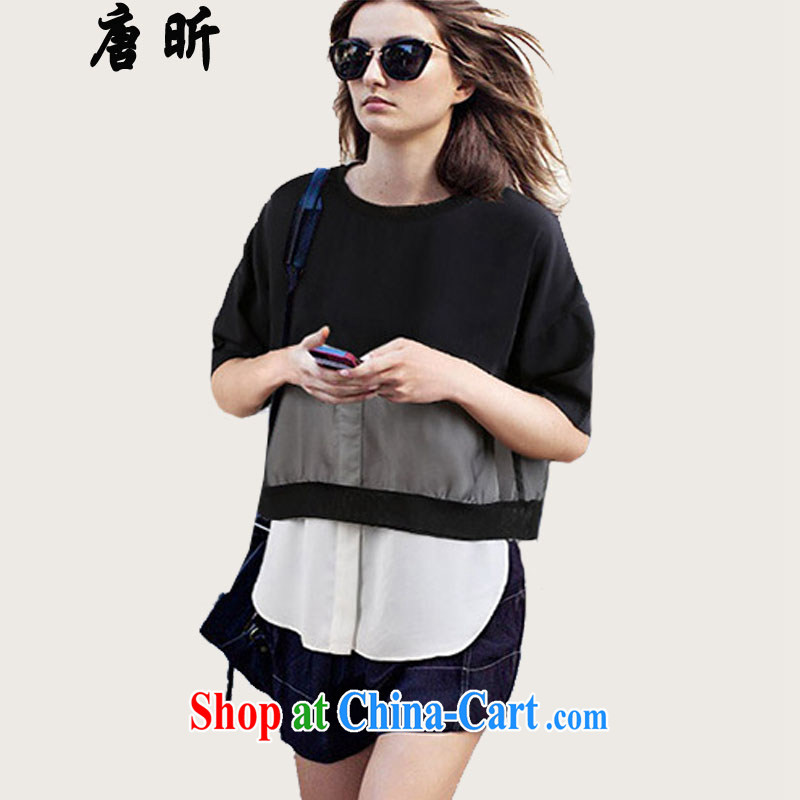 Tang year Summer in Europe and America, the female loose video thin stitching snow woven shirts and indeed intensify thick MM short-sleeved black_1935 XL 3 150 - 160 Jack left and right