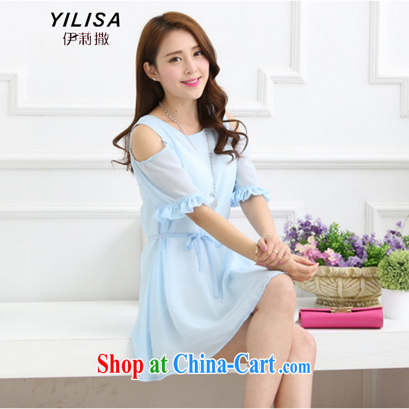 She sub-Saharan larger female bowtie dresses DM summer chubby people graphics thin, cultivating skirt thick sister summer leisure snow woven bare shoulders dress L 360 water blue XXL for 120 - 140 jack