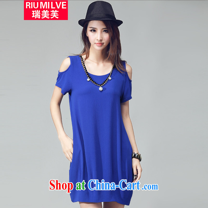 Ryan and the United States concluded the Code women mm thick beauty 2015 summer new Korean version the fat and loose video thin feel your shoulders short-sleeved dresses W 2033 blue XXXL
