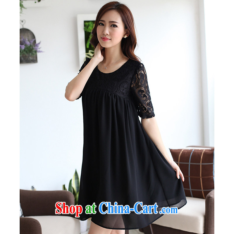 The sin the 2015 summer Korean version thick MM graphics thin large code female liberal 100 snow ground woven lace spell back dress black XXXL