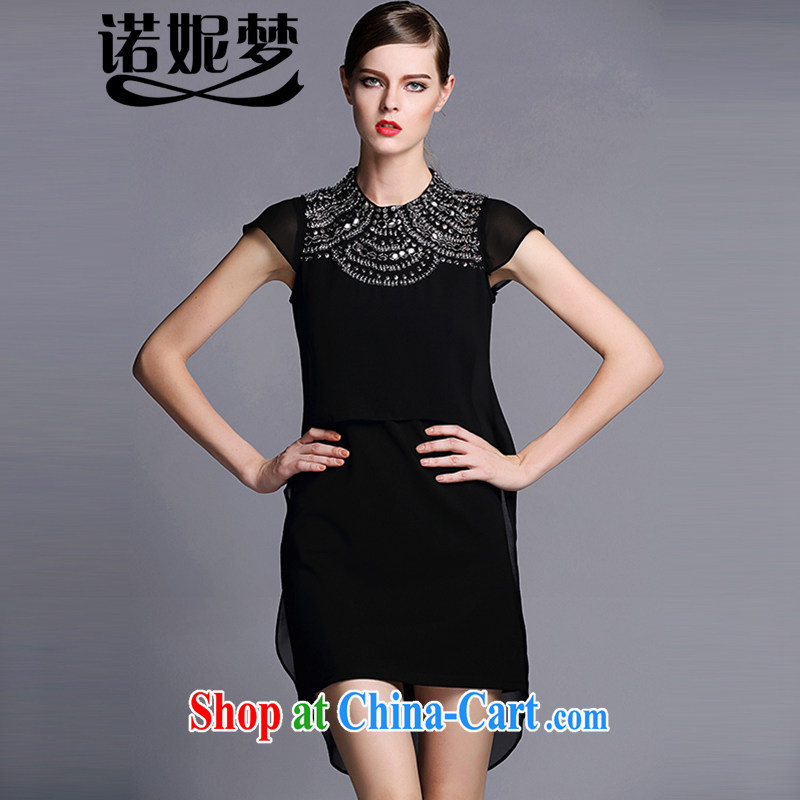 Connie's dream 2015 new, high-end European and American large code female thick sister summer and nails pearl cultivation aura video thin short-sleeved snow woven dresses G 0068 black XXXXL
