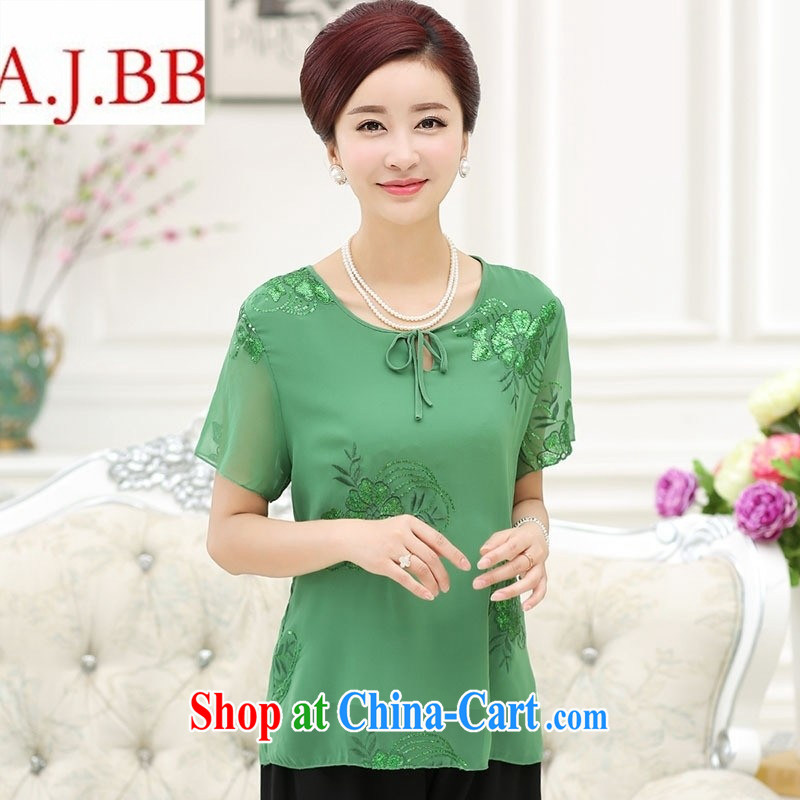9 month dress _ summer new female loose the code silk T-shirt, old mother with the collar and thin short-sleeved embroidered green XXL