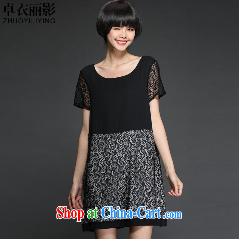 Cheuk-yan Yi Lai shadow the Code women summer 2015 Korean version of the new stylish and elegant graphics thin Openwork lace stitching short-sleeved dresses M 2878 black XL