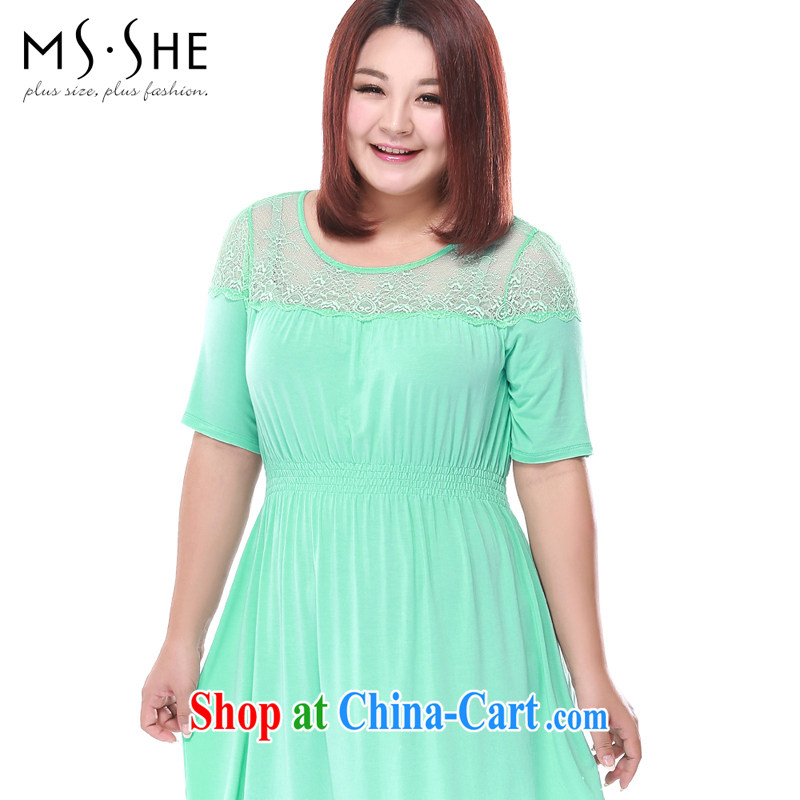 MSSHE XL girls 2015 new summer lace Stitching with elastic band waist home dresses 2709 mint green 4 XL