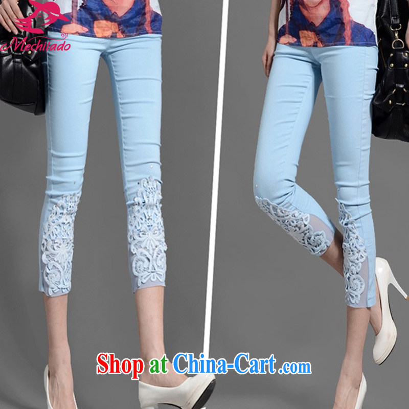 2015 Mechilado new summer Korean lady lace inserts drill larger thick MM loose solid 7 pencil pants 8009 _blue XXXXL
