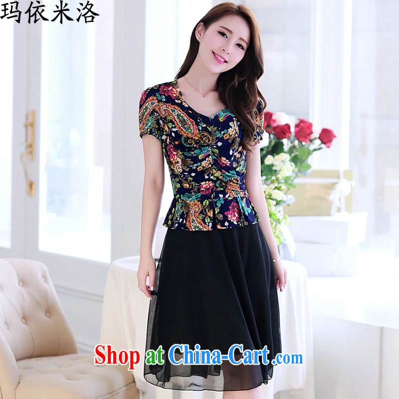 mm thick 2015 summer new, larger female short-sleeved stamp beauty graphics thin dresses Women's Code female summer, older women with new green leaves XXXL spent for 130 - 140 jack