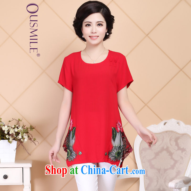 2015 Ousmile new summer relaxed short sleeved shirt T cotton the solid T-shirt National wind, older women with larger A 017 red 4 XL