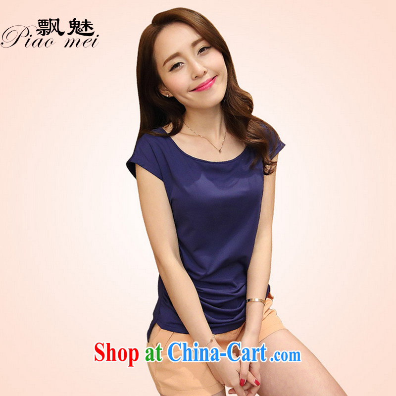 drift of summer 2015 new Korean version the code female mother Load T shirt mask poverty wonton fillings female Solid Color short-sleeved T shirt solid T-shirt royal blue L