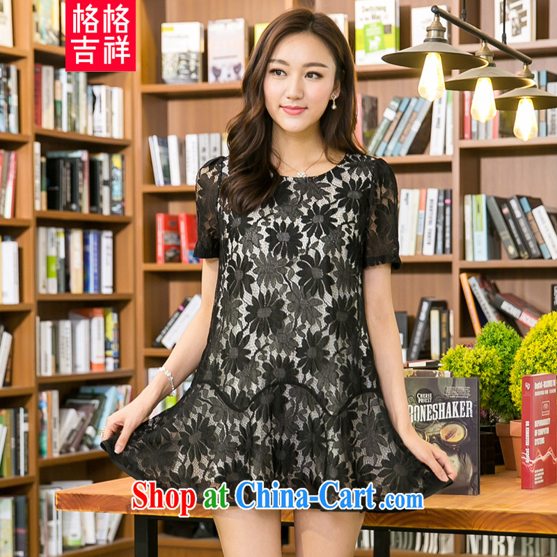 Good luck cracking the Code women mm thick beauty graphics thin 2015 summer new and indeed XL lace Openwork short-sleeved dresses X 5205 black 4XL